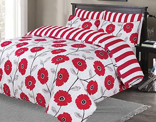 Indus Textiles Duvet Quilt Cover Bed Sets Reversible Patterned Soft and Smooth Easy Care (Red Flower, Super King)