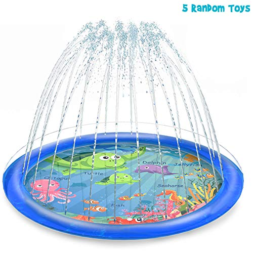 【Expedited shipping】Sprinkler for Kids, Splash Pad, and Wading Pool for Learning – Children's Sprinkler Pool, 68'' Inflatable Water Toys Outdoor Swimming Pool for Babies and Toddlers