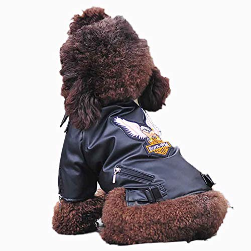 Hmpet Abrigo de Invierno para Perro,Chaqueta Impermeable de Cuero PU para Mascotas para Perros Ropa para Mascotas, Chaqueta de Cuero para Perros pequeños, medianos y Grandes,Negro,XS