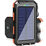 Solar Charger 20000mAh Portable Solar Power Bank External Backup Battery Pack Waterproof Solar Phone Charger with Dual USB Ports 2 LED Light Carabiner and Compass for Smartphones and More