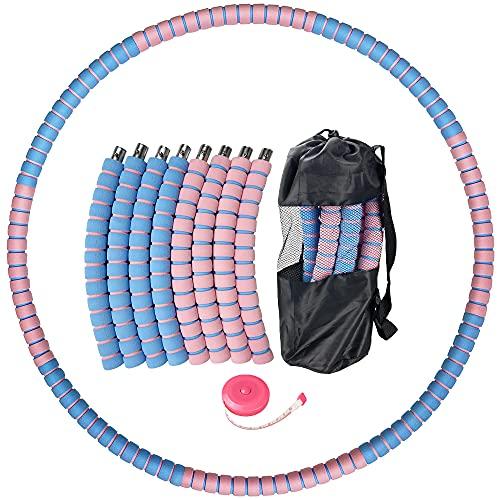 Hula Fitness Hoop - Pneumatici per adulti, Exercise Hoop vot da 1 kg a 3,2 kg, perdita di peso, nucleo in acciaio inox con gommapiuma, 8 Hoola Hoop rimovibili con mini metro a nastro e borsa