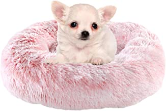 Calming Bed for Dogs Cats - Faux Fur Donut Cuddler Dog Beds for Medium Dogs, Modern Soft Plush Round Pet Bed, Indoor Heate...