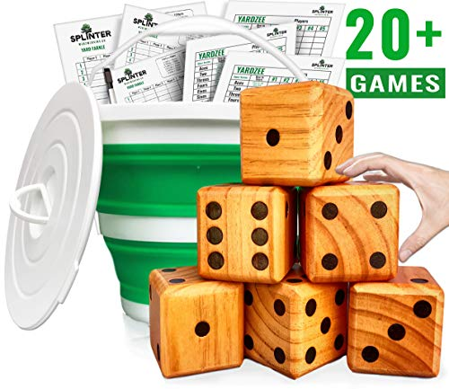 Splinter Woodworking Co Yardzee, Farkle & 20+ Games - Giant Yard Dice Set (All Weather) with Collapsible Bucket, Lid, 5 Big Laminated Score Cards & Marker - Backyard Lawn Game - Indoor / Outdoor