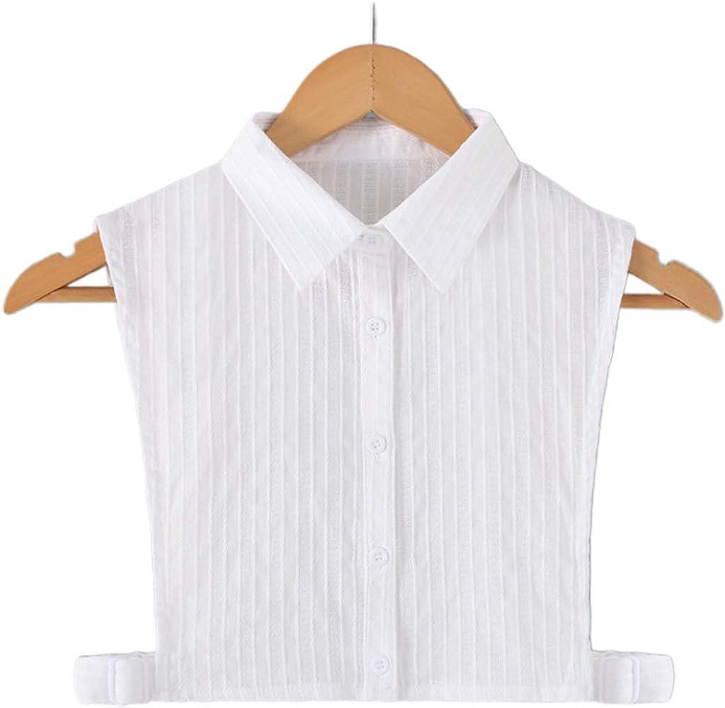 YOUSIKE Neck Chain, Korean Women Elegant White False Fake Collar Vertical Stripes DIY Adjustable Detachable Lapel Ruffles Half-Shirt Blouse Sweater Accessory