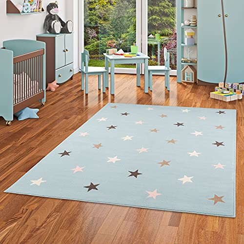 Pergamon Trendline - Alfombra para niños y jóvenes - Estrellas - Azul Mixta - 5 tamaños