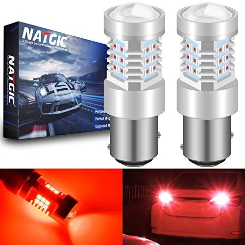 NATGIC 1157 BAY15D 2057 2357 7528 Ampoules à LED Rouges 21- EX 2835 SMD Chipsets avec projecteur pour Objectif pour Feux de recul de recul Stop de Frein, 10-16V 10,5W (Pack de 2)