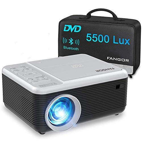 Mini Beamer, FANGOR Heimkino Beamer unterstützt 1080P Full HD, 5500 Lumen Bluetooth Beamer mit DVD-Play-Funktion,Kompatibel mit TV-Stick, HDMI, USB, PS4, Xbox, iOS/Android Smartphone