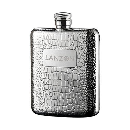 LANZON Hip Flask with Funnel, All 18/8 304 Food Grade Stainless Steel Curved Pocket Flask for Liquor   6 OZ Capacity   Gift Boxed (Cobblestones Pattern)