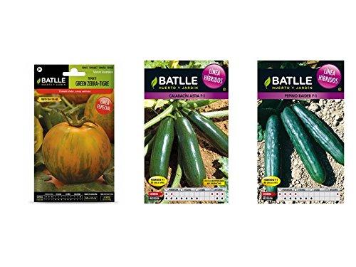 Lote 3 sobres de semillas Híbridos y línea especial (Tomate, Calabacin y Pepino)