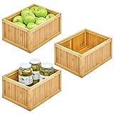 mDesign Cajas organizadoras para la cocina – Cajón organizador de bambú ecológico – Versátil caja de madera con compartimentos para guardar alimentos, latas, etc. – Juego de 3 – color natural