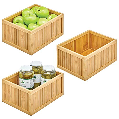 mDesign Bamboo Panel Kitchen Cabinet and Shelf Pantry Organizer Bin - Eco-Friendly, Multipurpose - Use on Countertops, Shelves or in Pantry - 3 Pack - Natural Bamboo