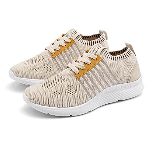 JHHSYU Hombres Zapatos de caminar Modelo de Pareja Casual Moda Antideslizante Ligero Transpirable Malla Running Zapatos Cómodo Hombres Entrenamiento Tenis Caminar Atlético Gimnasio 8801, Caqui, 42 EU
