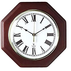 Chicago Lighthouse Octagon Wall Clock, 12 Inch, Mahogany