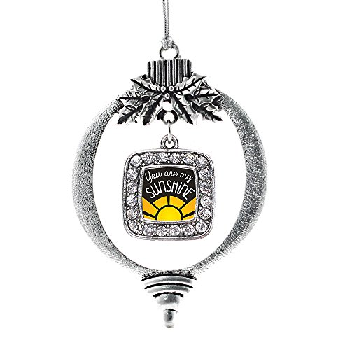 Inspired Silver - You are My Sunshine Charm Ornament - Silver Square Charm Holiday Ornaments with Cubic Zirconia Jewelry