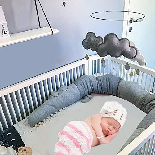 Funihut Bettumrandung Babybett Länge 2m Baby Nestchen Bettumrandung Weben Geflochtene Stoßfänger Dekoration für Krippe Kinderbett (Grau)