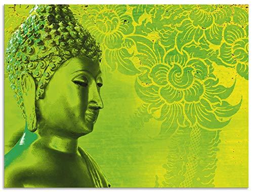 Artland Wandbild Alu für Innen & Outdoor Metall Bild 40x30 cm Fantasy & Mythologie Religion Buddhismus Fotografie Grün Buddha Goldstatue S6DO