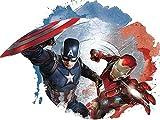 8 Inch Captain America Shield Versus Iron Man Suit Civil War Team Cap Stark Marvel Avengers Comics Removable Wall Decal Sticker Art Home Decor Kids Room Boys Decoration 8 x 5 1/2 inches