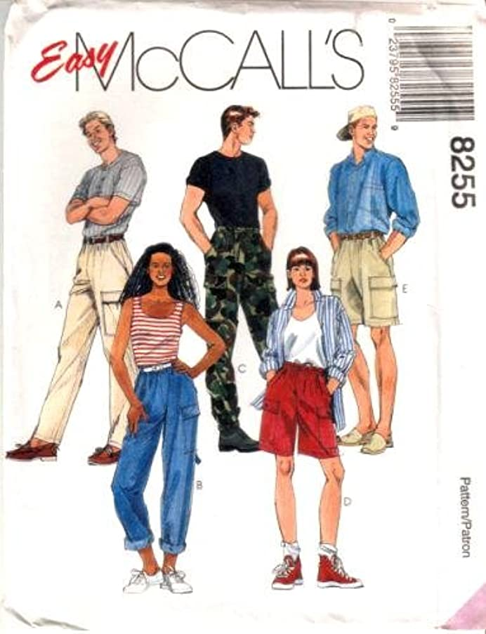 McCall's Sewing Pattern 8255 Misses' & Mens Pull-on Pants & Shorts, Med (Size 36, 38)