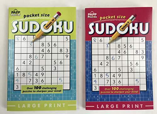 Pocket Size Large Print Sudoku PAPP Puzzles Bundle/2