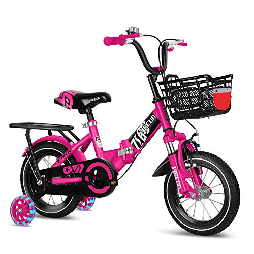 ZJDU Kids Bike, Boys Girls Foldable Bicycle,with Illuminated Training Wheels, Rear Seats and Basket,High Carbon Steel Frame,2-10 Year Old Foldable Baby Stroller Kids Mountain Bike,Pink,18 inch