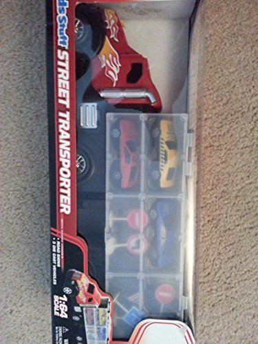 Childrens 3 Die Cast Toy Cars and Carrying Semi Truck Transporter by Excite