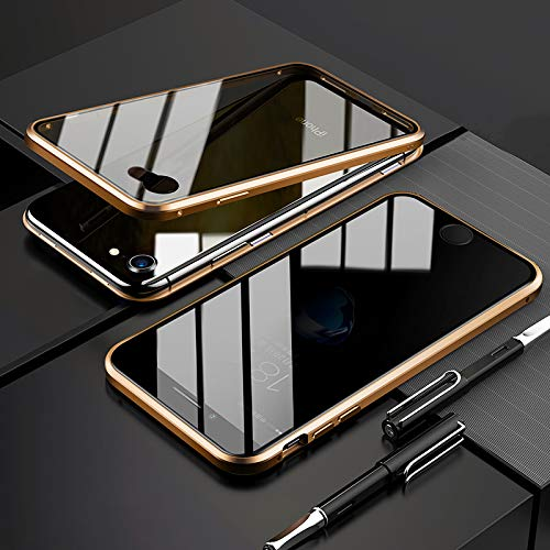 EUDTH Cover iPhone 7/iPhone 8, Custodia Protezione Struttura in Metallo Magnetico Flip Case + Caso Protettive in Vetro Temperato Privacy Protettiva Cover per iPhone 7/iPhone 8 (Gold)