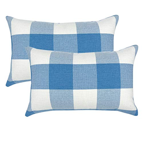 YOUR SMILE Retro Farmhouse Buffalo Tartan Checkers Plaid Cotton Linen Decorative Throw Pillow Case Cushion Cover Pillowcase Lumber for Sofa 12 x 20 Inch,Set of 2,Baby Blue/White