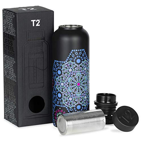 T2 Tea Flask, Stainless Steel Leak-Proof Thermal Insulated Flask with Removable Tea Infuser, Moroccan Tealeidoscope Black, 500ml, H999BU189