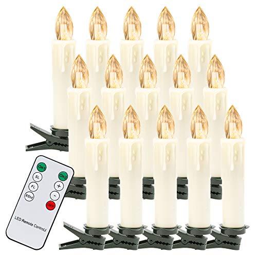 VINGO 40er LED Weihnachtskerzen mit Fernbedienung Kabellos Warmweiß Kerzen Dimmbar Christbaumkerzen für Weihnachtsbaum,Christbaumsdeko