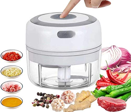 Mini Food Chopper Electric Small Food Processor Portable Fruit Blender Mixer Chops Vegetables, Nuts & Onion Meat Mincer Grinder Salad Grinder (White)