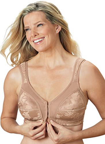 AmeriMark Front-Close Bra with Flex Back – Wire-Free Bra for Extra Support Beige 48DDD