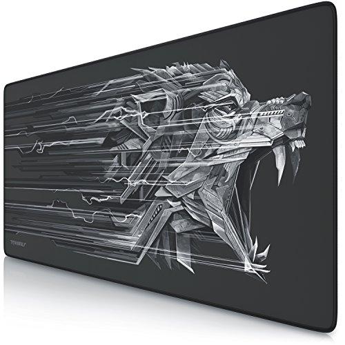 CSL - Titanwolf XXL Speed Gaming Mauspad - 900 x 400mm - XXL Mousepad - Tischunterlage mit Titanwolf-Motiv - verbessert Präzision und Geschwindigkeit - Stabiler Halt auf glatten Oberflächen