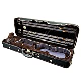 Paititi PTVNQF28 4/4 Full Size Professional Oblong Shape Lightweight Violin Hard Case, Black/Brown full size violin Apr, 2021