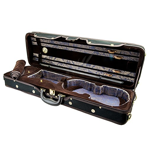 Paititi PTVNQF28 4/4 Full Size Professional Oblong Shape Lightweight Violin Hard Case, Black/Brown