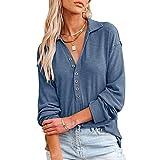 Mosiolya Camisa de manga larga con botón para mujer, sexy, cuello en V, monocolor, de punto, blusa, azul, L