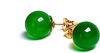 yigedan 3D Yellow Gold Natural Green Jade Ball Earrings