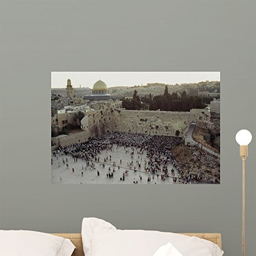 Crowd Gathers before Wailing Wall Mural by Wallmonkeys Peel and Stick Graphic (24 in W x 16 in H) WM317855