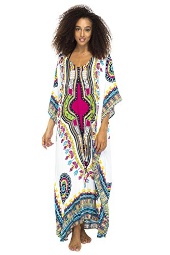 Back From Bali Womens Maxi Swimsuit Beach Cover Up Caftan Ethnic Long Poncho Sequins White