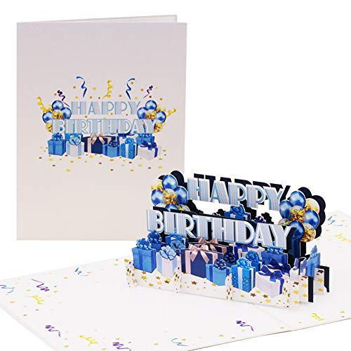 Geburtstagskarte Happy Birthday in Blau | Pop up Karte Geburtstag, 3D Luftballons, Geschenke | Glückwunschkarte oder Gutschein zum Geburtstag, G24.2