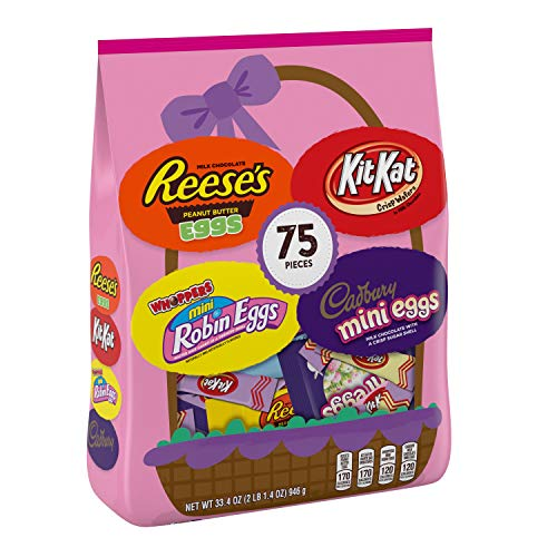 HERSHEY's Easter Chocolate Candy Assortment, 75 count, REESE'S Eggs CADBURY Eggs, WHOPPERS Eggs, Kit Kat Miniatures, 75 Count