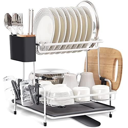 Kingrack Geschirr Abtropfgestell 2-Stöckig, Geschirrabtropfgestell aus Aluminium, Große Geschirrabtropfkorb mit Abnehmbarem Getränkehalter Besteckhalter und 360° Schwenkbares Tropfschale