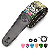 ギターストラップ 刺繍 ジャガード織 長さ調整可能 肩掛けベルト ストラップロック付き クラシック 2つの安全ストラップロックと6枚ピックギター エレキ ベース用 (ゴルード)