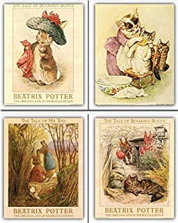 Impact Posters Gallery The Tale of Peter Rabbit Beatrix Potter Kids Room Wall Decor Picture Four Set 16x20 Girls
