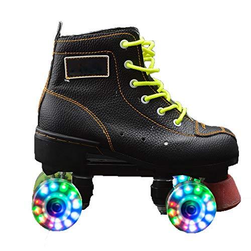 Erwachsene Schlittschuhe Zweireihige Vier-Rad-Skates Flash Skates Skating Rink Dedizierte Rollschuhe Männer und Frauen,Black-42
