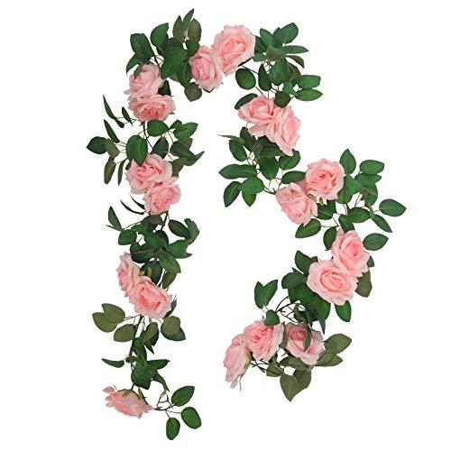 SHACOS 3 Stück Blumen Girlanden Rosa Künstliche Rosen Girlanden Vintage 3x2m Hängende Girlande Ideal für Dekor Weihnachten Hochzeit usw.