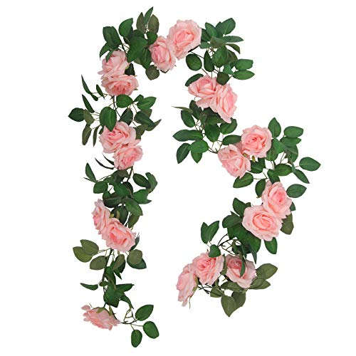 SHACOS 3 Pack Pink Fake Rose Vine Garland Flower Plants Artificial Hanging Rose Ivy Perfect for Home Garden Office Hotel Party Decor