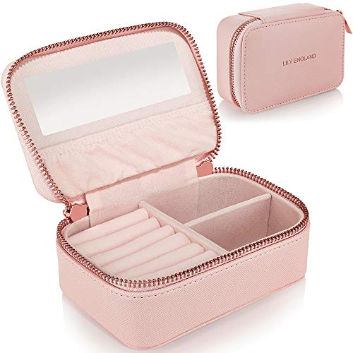 Small Jewellery Box Organiser for Travel - Jewelry Case in Faux Leather for Earrings Rings Necklaces - Gifts for Women by Lily England, Pink