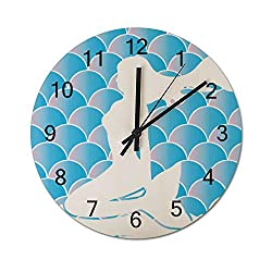 TattyaKoushi Rustic Country Mermaid Scale Blue Wooden Wall Clock Silent & Non-Ticking Decor Round Wall Clock 15 Inch