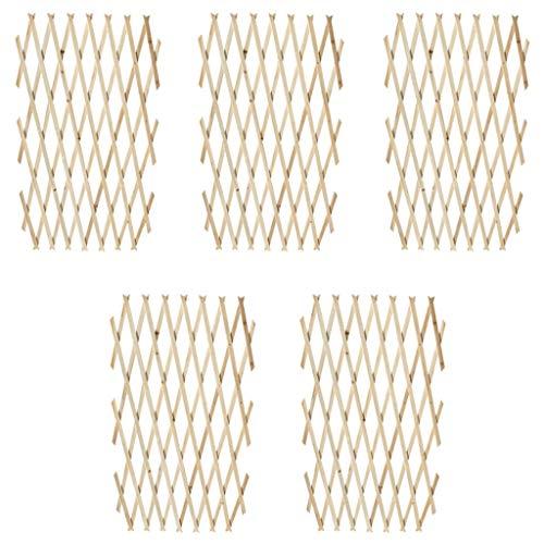 UBaymax 5er-Set Ausziehbarer Spalierzaun aus Holz, variabel verstellbar Gitterzaun Zaunelement Rankhilfe, Rankzaun Rankgitter Scherengitter Spalier Holzgitter, 180 x 90 cm