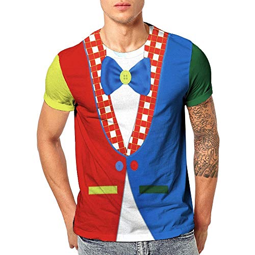 Herren Druck T-Shirt Falscher Anzug Gedruckt Shirts Smoking Krawatte Pullover Rundhals Kurzarmshirt Slim Fit Kostüm Fake Suit Tie für Männer Geschenk